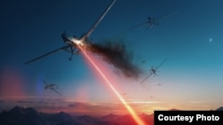 This image is a depiction of laser weapon technology being developed by Lockheed Martin that the company says could be used to protect against attacks from drones or missiles. (Lockheed Martin)