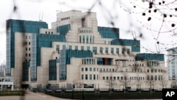 The headquarters of the British Secret Intelligence Service or MI6, is seen on the bank of the River Thames in London.