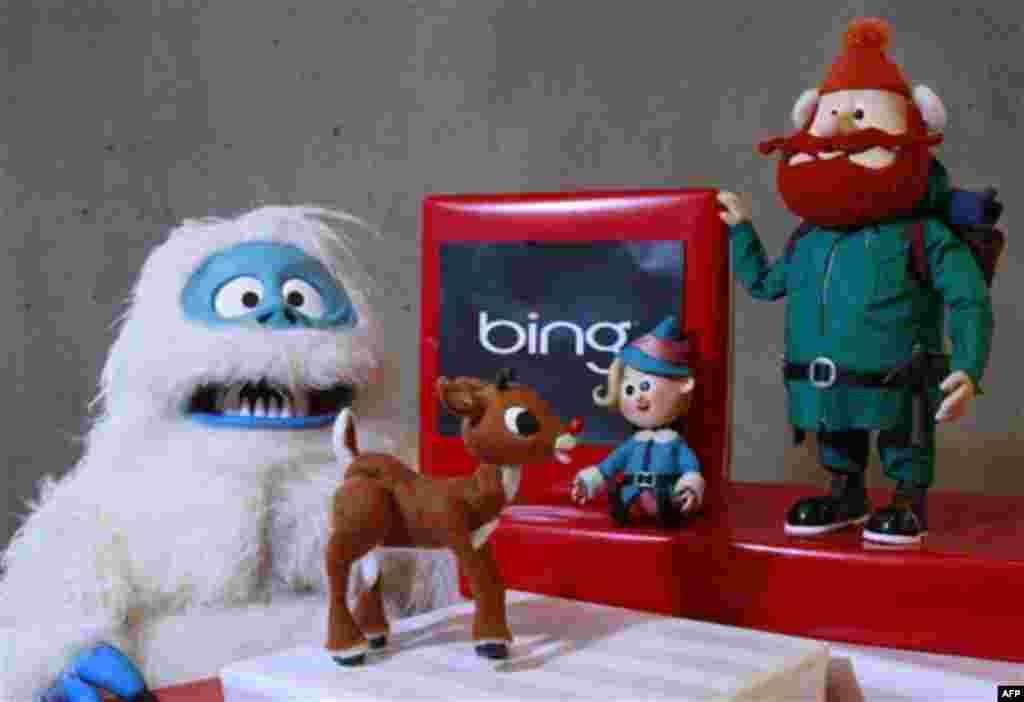 This Nov. 15, 2011 photo, shows at the Microsoft office in San Francisco, from left, The Abominable Snowman, aka Bumble, with Rudolph the Red Nose Reindeer, Hermey, and Yukon Cornelius, all figures from the animated show Rudolph the Red Nose Reindeer. (AP