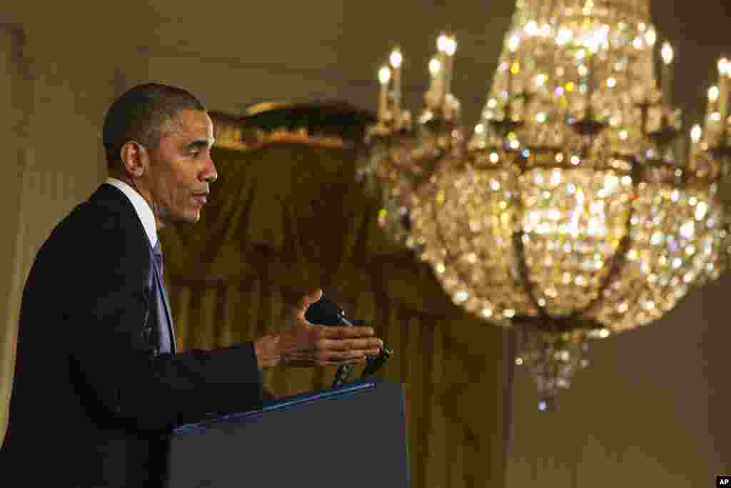 "President Barack Obama speaks during a news conference, telling Americans who voted for change: ""I hear you,"" in the East Room of the White House,  Nov. 5, 2014, in Washington."