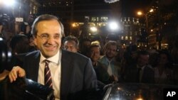 Leader of the New Democracy conservative party Antonis Samaras