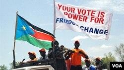 Para aktivis pro-kemerdekaan di Sudan selatan melakukan kampanye di ibukota Sudan selatan, Juba menjelang dilaksanakannya referendum.