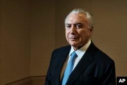 Le président brésilien, Michel Temer, pose pour un portrait à l'hôtel Four Seasons lors de la 73rd session de l'Assemblée générale des Nations Unies, en septembre 24, 2018, à New York.
