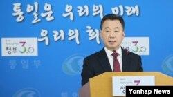 정준희 한국 통일부 대변인이 지난 9일 정부서울청사에서 정례브리핑하고 있다. (자료사진)