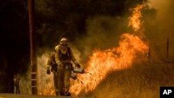 消防員在加州文圖拉縣附近的聖塔安納公路滅火