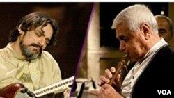 عکس آرشیوی از حسین علیزاده (چپ) استاد موسیقی ایران و ژیوان گاسپاریان دودوک نواز برجسته ارمنستانی