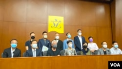 香港民主派立法會議員回應北京駐港機構中聯辦以及香港政府對《基本法》第22條的最新說法,質疑它們扭曲《基本法》,擔心變成北京治港引發撤資潮。(美國之音湯惠芸)