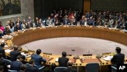 지난달 28일 미국 뉴욕의 유엔 본부에서 렉스 틸러슨 미국 국무장관이 북한 핵 위협에 관한 안보리 고위급 회의를 주재하고 있다. (자료사진)