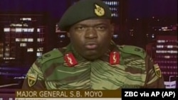 Retired General Sibusiso Moyo is the current Minister of Foreign Affairs. (ZBC via AP)