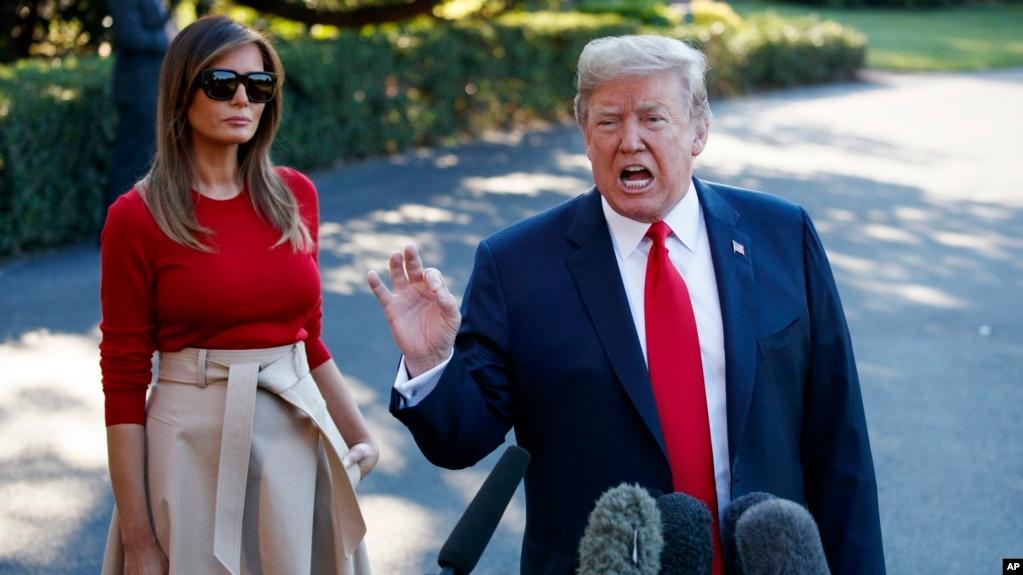 El presidente Donald Trump habló con los periodistas antes el martes, 10 de julio de 2018, antes de abordar el helicóptero presidencial Marine One en la Casa Blanca.