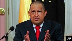Venezuela's President Hugo Chavez speaks during the swearing in ceremony of two new ministers: Culture and Youth in Caracas, August 1, 2011