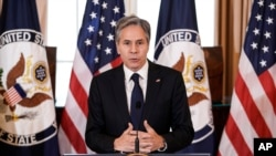 """Secretary of State Antony Blinken speaks about the release of the State Department's annual """"Trafficking in Persons"""" report, July 1, 2021, in Washington."""