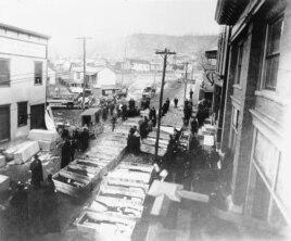 1907'de Monongah, Batı Virginia'da maden kazasında ölenlerin tabutları götürülürken