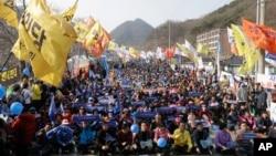 南韓民眾舉行反薩德抗議。