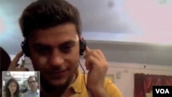 A caller from Iran talks to VOA via Skype about preventing terrorism.