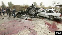 Lokasi serangan bom di dekat markas kepolisian di Kirkuk, Irak utara (19/5).
