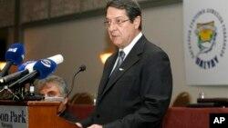 29일 수도 니코시아에서 열린 공무원 회의에서 니코스 아나스티아데스 키프로스 대통령이 연설중이다.