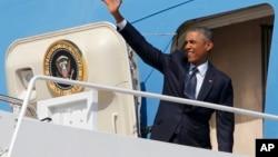 9月2日奥巴马总统离开华盛顿附近的安德鲁空军基地开始为期四天的欧洲之行