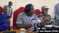 La procureur du Burkina Faso, Maïza Sérémé, donne une conférence de presse à Ouagadougou, le 14 août 2017.