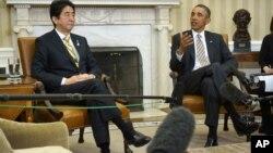 Премьер-министр Японии Синдзо Абэ и президент США Барак Обама (архивное фото)