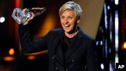 Ellen DeGeneres accepts the award for favorite daytime TV host at the 40th annual People's Choice Awards at the Nokia Theatre L.A. Live, Jan. 8, 2014, in Los Angeles.