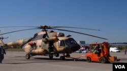2015年8月莫斯科航展的米-17直升機。米-17是米-8直升機的改進型。 (美國之音白樺拍攝)