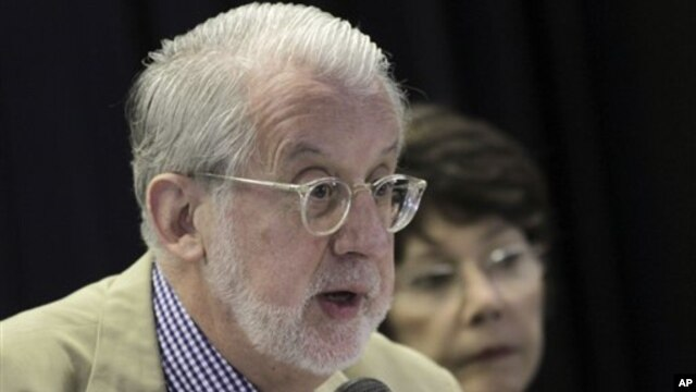 Truth Commission member, Paulo Sergio Pinheiro, speaks during annual progress report in Brasilia, Brazil, May 2013.