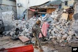 Shambulizi la kigaidi katika Afrik Hotel Mogadishu, Somalia, Feb. 1, 2021. Al-Shabab claimed responsibility for the deadly assault.