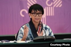 Menlu Retno Marsudi dalam.jumpa pers secara virtual, Jumat, 7 Agustus 2020. (Foto: Kemenlu)