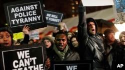 5일 미국 뉴욕에서 시위를 벌이는 사람들