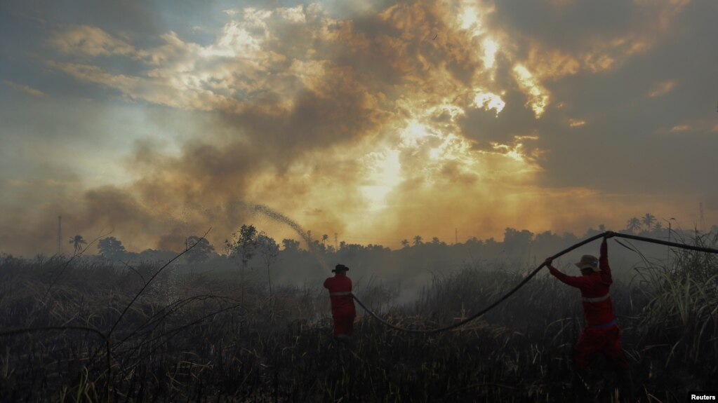 FILE - Firefighters try to extinguish a bush fire in Ogan Ilir regency, South Sumatra, Indonesia, Aug. 4, 2017, in this photo taken by Antara Foto.