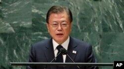 Tổng thống Hàn Quốc Moon Jae-in phát biểu tại Liên Hợp Quốc hôm 21/9.