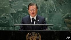 문재인 한국 대통령이 21일 뉴욕 유엔본부에서 열린 제76차 유엔총회에서 기조연설을 했다.