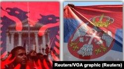 Zastave Albanije i Srbije, ilustrativna fotografija