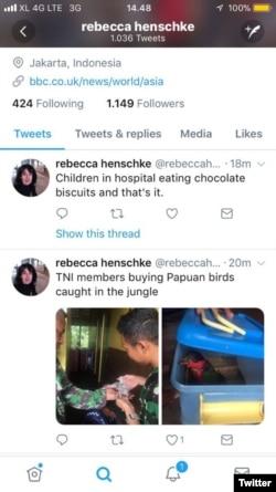Cuitan Rebecca Alice Henschke, wartawan BBC di akun Twitter pribadinya.