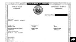 Rodni list predsjednika Obame