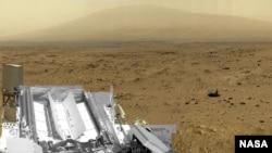 美国国家航空航天局好奇号从火星拍摄的图片。(美国航天局资料照片)