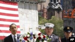 9.11 테러 피해 현장을 찾은 오바마 대통령