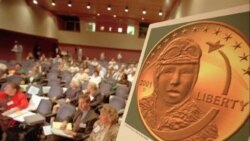 A coin with Bessie Colemanis shown during a presentation to the Dollar Coin Design Advisory Committee meeting in Philadelphia Monday, June 8, 1998