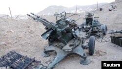 Des équipements militaires trouvés à Palmyre, Syrie, 13 décembre 2016.