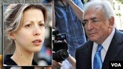 Penulis Perancis Tristane Banon (kiri) dan mantan Kepala IMF, Dominique Strauss-Kahn.