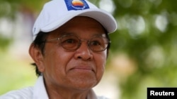 In this file photo, Cambodia's opposition leader and President of the National Rescue Party (CNRP) Kem Sokha talks during an interview with Reuters in Prey Veng province, Cambodia May 28, 2017.