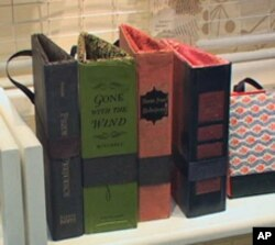 Those are books that have been turned into purses on artist Caitlin Phillips' shelf.