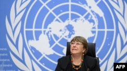 UN High Commissioner for Human Rights Michelle Bachelet looks on prior to a press conference on December 9, 2020 in Geneva. -