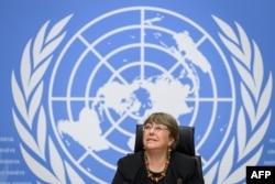 Komisaris Tinggi PBB untuk Hak Asasi Manusia Michelle Bachelet, menjelang konferensi pers di Jenewa, 9 Desember 2020.