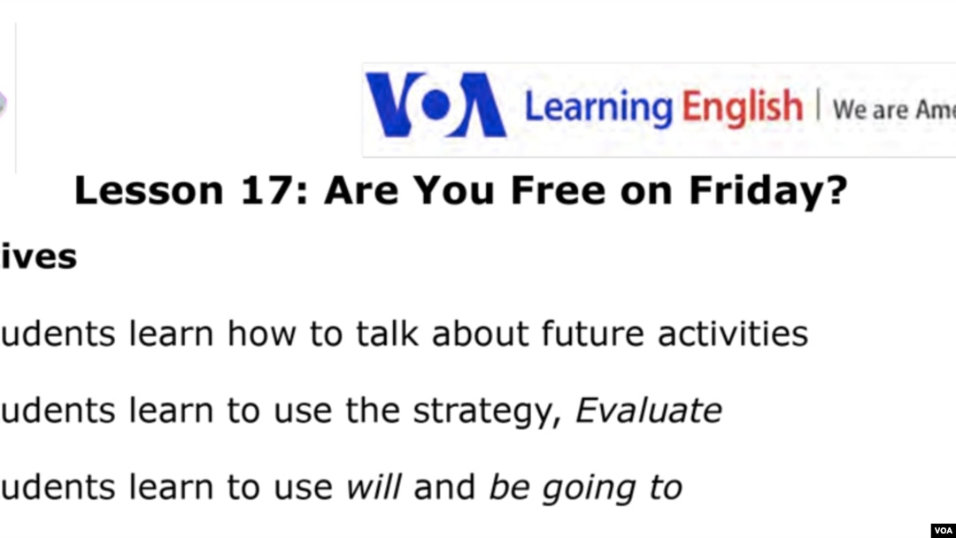 Lesson 17: Are You Free on Friday?
