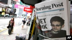 La foto de Edward Snowden en la portada del diario South China Morning Post, en Hong Kong.