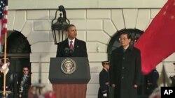 奥巴马在白宫举行正式仪式欢迎胡锦涛访美