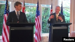 Secretary of State Rex Tillerson talks with New Zealand Prime Minister Bill English during a media conference at Premier House in Wellington, New Zealand, June 6, 2017.