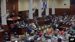 Arxiv surat. Afg'oniston Prezidenti Ashraf G'ani parlamentga murojaat qilmoqda, 7-mart, 2015-yil